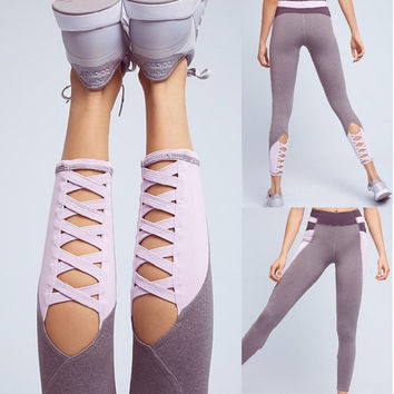 Yoga Patchwork Hollow Out Dancing Sports Jogging Pants [10193302471]