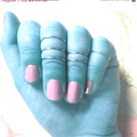 Knuckle Rings - Set of 3 - Available in 10 colors - Stackable, Adjustable Cute Summer Trendy Midi Rings - Mid Finger Bands