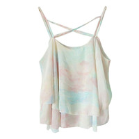 top cropped New Summer Chiffon Print Floral Top Spaghetti Strap Vest Crop Top #LN