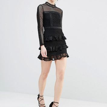 True Decadence Petite Long Sleeve Mesh Detail Mini Dress With Ruffle Skirt at asos.com