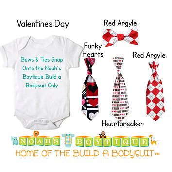 Valentine's Day Snap On Ties and Bow Ties by Noah's Boytique