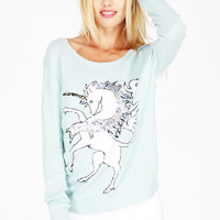 UNICORN CREW NECK SWEATER at Wildfox Couture in  - CLEAN BLACK, STLT