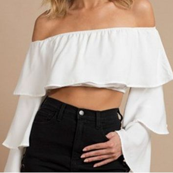 Women's new casual trumpet sleeves elastic shoulder tube top