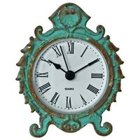 VINTAGE FRENCH BAROQUE SHABBY CHIC STYLE TURQUOISE DESK BEDROOM FIREPLACE CLOCK