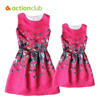 Actionclub  Mother Daughter Dresses Family Matching Clothing Girls Dress Sleeveless Formal Print A-line Dress For Summer Kid