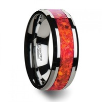OPERA Tungsten Wedding Band with Beveled Edges and Red Opal Inlay