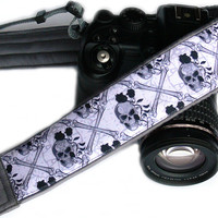 Sugar Skulls Camera Strap with Roses, Halloween, Day of the Dead, dSLR Camera Strap, SLR, Nikon, Gray Camera Strap, Camera Accessories