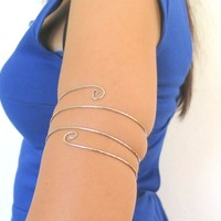 Triple coil armband, silver hammered upper arm tribal armlet