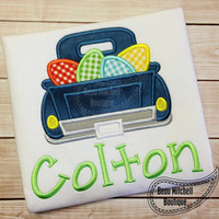 Easter Eggs Vintage Truck Custom Tee Shirt - Customizable - Infant to Youth