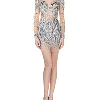 Women's Sequined Beaded-Pattern Long-Sleeve Cocktail Dress - Jovani - Nude