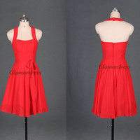 Red chiffon bridesmaid dresses,latest affordable bridesmaid gowns,halter prom gowns,simple dress for wedding party.