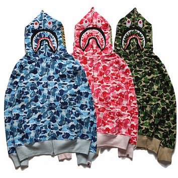 Bape tide brand shark head camouflage men and women models cotton zipper sweater coat