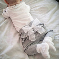 spring and autumn new Kids baby clothing White Chiffon big bow gray baby Trousers pants 0-2 years old Baby girl Leggings