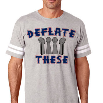 Deflate These 2 Unisex  NFL Tee Football Jersey New England   NFL Tee Shirts Jerseys   New England Patriots Shirts   Women and Men NFL