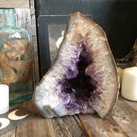 Large Amethyst And Banded Agate Standing Crystal / Amethyst Cluster / Raw Crystal Cluster / Healing Crystals / Large Amethyst Geode