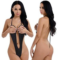 Wet Black Extreme Open Bust & Crotch Thong G-String One Piece Swimsuit