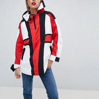 ASOS Oversized Padded Anorak in Colourblock with Straps at asos.com