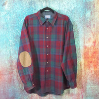 Holey Pendleton Wool Flannel Plaid Shirt Elbow Patch Vintage Grunge Retro Long Sleeve Button Up Collar Red Blue Green Size XL Extra Large