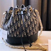 Christian Dior D Letter Embroidered Jacquard Bucket Bag Shoulder Crossbody Bag