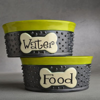 """Small Dog Bowl Set 5"""" to 7"""" Made To Order Personalized Dangerously Spiky Dog Bowls by Symmetrical Pottery"""