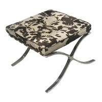 Barca Fabric Ottoman Brushed Stainless Steel Frame Brown Cow Print