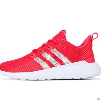 SALE -  Women's Adidas Questar Flow + Crystals - Pink/Red - Size 5.5