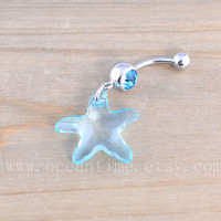 Starfish Button Rings,Navel Jewlery,crystal starfish belly button ring, nautical ring,summer jewelry