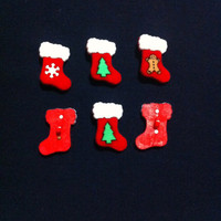 Christmas Boots Plastic Buttons - Holiday Sewing Craft Supplies