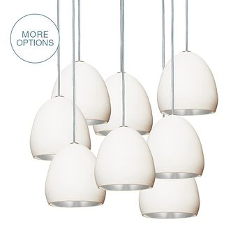 """7"""" Matte White & Silver Leaf Clay Multiple Stagger Pendant Chandelier"""