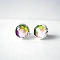 Green and Pink Stud Earrings - Glass Cabochons Post Earrings - Glass Dome Stud