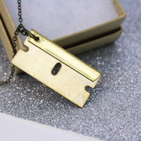 Razor Blade Necklace Brass (**Pendant is NOT Real**)