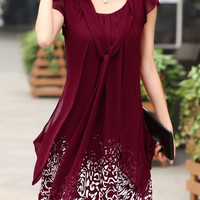 Dark Red Bow Tie Collar Layered Chiffon Dress