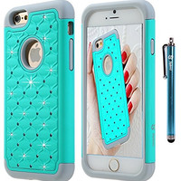 iPhone 6S Case, iPhone 6 Case, Style4U iPhone 6S / 6 Studded Rhinestone Crystal Bling Hybrid Armor Case Cover for Apple iPhone 6S / iPhone 6 with 1 HD Screen Protector and 1 Stylus [Mint Green / Grey]