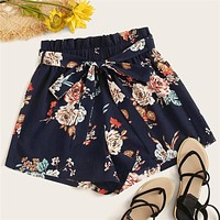 Paperbag Waist Floral Print Belted Shorts Navy Boho High Waist Elastic Waist Women Wide Leg Loose Shorts