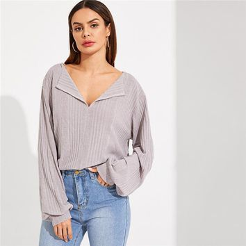 Highstreet Grey V Neck Drop Shoulder Solid Ribbed Plain Long Sleeve Tee Casual Women Modern Lady Tshirt Top