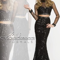 Milano Formals Black Two Piece Evening Gown E1928