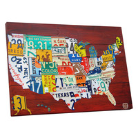 USA License Plate Map by David Bowman (Canvas)