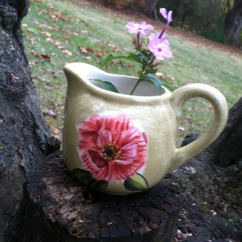 Pink and Green Floral Creamer Vintage Hand Painted ND Made in China Small Ceramic Pitcher With Flowers Shell Mermaids and Crown Hallmark