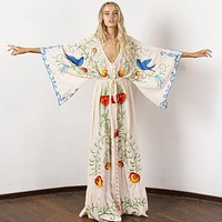 Embroidered Women Maxi Dress V-Neck Batwing Sleeve Loose Plus Color Dresses Drawstring Waist Boho Beach Vestidos
