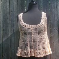 Peach filet crochet rose tank top, crochet tank top, free shipping to the US!