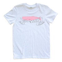 Save the Whales Eco Friendly Whale Design Adult Tee Shirt with Pink or Green Whale