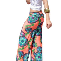 Orange Vintage Floral Straight Trouser