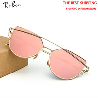 RTBOFY Newest Cat Eye Sunglasses Women Brand Designer Twin-Beams Sun Glasses Mirror Sunglasses