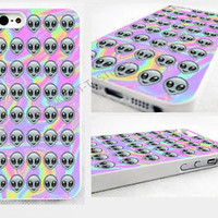 Tie Dye Alien Emoji iPhone 4,4s, 5C, 5S,5, glossy cover Case