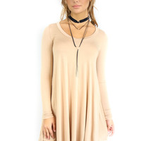 Queen of Hearts Beige Long Sleeve Dress