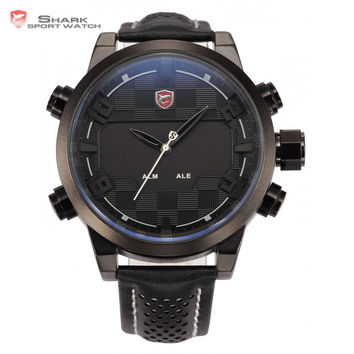 Shark Sport Watch Digital Dual Movement Display Black White Stainless Steel Mens LED Leather Strap Tag Military Watches / SH205