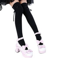 long cotton bowknot stockings thigh high over the knee socks for girls women TIML66