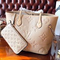 LV new simple embossed presbyopia female handbag shopping bag shoulder bag mother bag two-piece