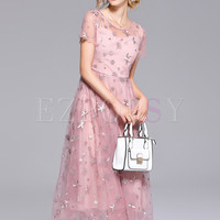 Pink Star Embroidery Mesh Maxi Dress