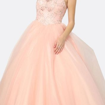 Quinceanera Dress Poofy Ballgown Blush Beaded Bodice
